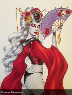 """Lady Death """"Around the world"""" Commission set. Here she is as a Geisha. Pencils, inks & colors by Dawn McTeigue, Tools used: Faber Castell PITT pens, Copic markers, Sakura Gelly Roll pens in metallic gold & purple. Purple Gold, Metallic Gold, Faber Castell, Copic Markers, Ink Color, Cartoon Styles, Geisha, Coffin, Cool Art"""