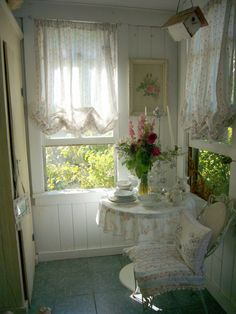Shabby Chic  It would be cute to have a cute little sitting area like this in my bedroom.