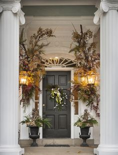 Magnificent holiday front door at Mary Carrol Garrity's Home|Nell Hill's : Over The Top!