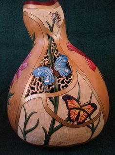 Gourd art, carved gourds, dragonfly, red poppies, butterflies, bees, relief…