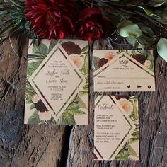 Love this kraft paper and burgundy floral wedding invitation with geometric shapes! DCo Lovenotes
