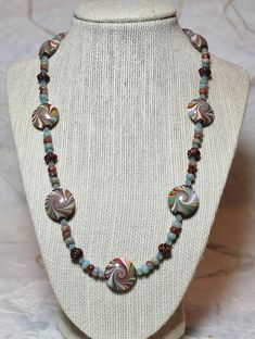 Handmade Jewelry Necklace Beaded Sea Blue Aqua Copper Polymer Clay Beads Crystal Swirl Spiral...Playa del Carmen. $52.00, via Etsy.