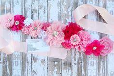 Pink Maternity Sash Flower Sash Maternity by KennasKlippiesBows, $27.50 #Maternity