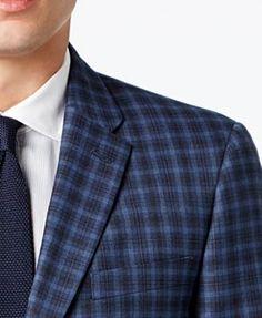 Tommy Hilfiger Men's Slim-Fit Blue Multi-Check Sport Coat - Blue 44S
