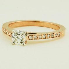 14K Rose Gold Starlight Diamond Ring (1/6 CT.TW.) - Set with a 0.40 Carat, Round, Very Good Cut, J Color, VS2 Clarity Diamond #BrilliantEarth