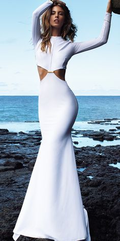 Lurelly White Sexy Cut-out Prom Wedding Bridal Maxi Dress Bridal Dresses, Prom Dresses, Formal Dresses, Plus Size Posing, Fashion Models, Fashion Beauty, Dress Skirt, Dress Up, Glamour