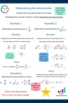 Rationalising the denominator summary. Add to your board to help revise it. Shows two examples Gcse Maths Revision, Maths Exam, 10th Grade Math Worksheets, Math Formula Chart, Maths Solutions, Math Notes, Math Formulas, Professor, Simple Math