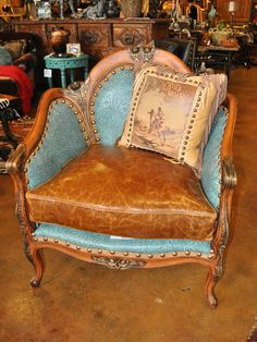 Rawhide   Carved Embossed Turquoise Chair