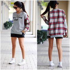 Diane Von Furstenberg Leather Shorts, Forever 21 Plaid Sweatshirt, Ray Ban Sunglasses, Converse Shoes