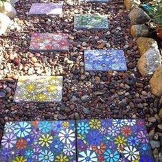 Flowers Square Mosaic Stepping Stone Cool Gardens , Cool Gardens With Mosaic Stepping Stones In Garden And Lawn Category