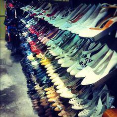 Rainbow of vintage shoes at Beyond Retro in Brick Lane (London).