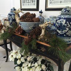 """#christmas2015 -#holidays #blueandwhitelove #blueandwhiteforever #theenchantedhomeshop another decorated console under my belt...thank the heavens for…"""