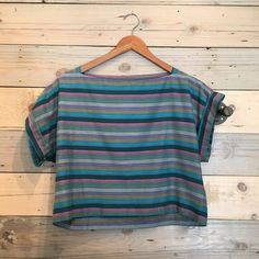 VTG cropped striped blouse Vintage. Good condition. Fits S-M. Material feels like cotton blend Vintage Tops Blouses