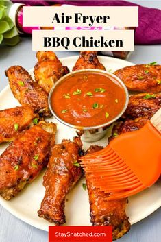 This Easy Air Fryer BBQ Chicken is made using wings, your favorite barbecue rub, and drizzled in BBQ sauce for the perfect grilled taste. You can make these using fresh or frozen chicken. Vegetarian Grilling, Healthy Grilling Recipes, Barbecue Recipes, Veggie Recipes, Wine Recipes, Barbecue Sauce, Veggie Food, Healthy Meals, Chicken Wing Recipes