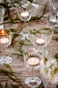 votives in cordial glasses...