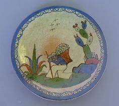 """Vintage Mexican 1940 Tlaquepaque small plate w/working man 6 5/8"""" diam."""