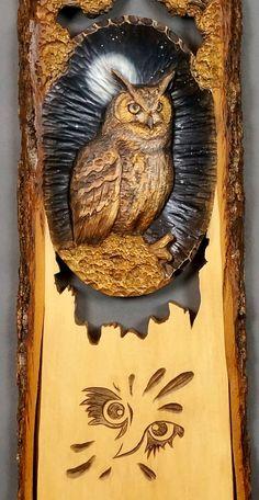 Búho de escultura en madera arte pared arte animales aves en