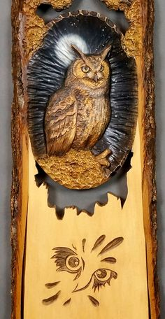 Wooden Gift Owl Carved Wood Carving Wall Art Wooden by DavydovArt