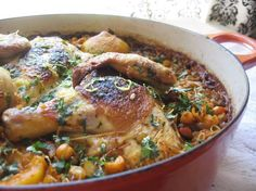 """Egyptian """"Koshari"""" inspired one-pot chicken with pasta and lentils Recipe on - Anna Laurell - African Food Lentil Recipes, Pasta Recipes, Chicken Recipes, Cooking Recipes, Cooking Ideas, Food Ideas, Dinner Recipes, Dessert Recipes, Chicken And Rice Dishes"""