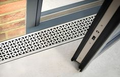 Drainage Feature - Aqualevel is a NEW integrated level access channel drain that works with a range of glazed door systems including sliding, bi fold, and lift & slide. Linear Drain Shower, Shower Drain, Drainage Grates, Surface Drainage, Drainage Channel, Open Plan Kitchen Living Room, Kitchen Floor, Drain Cover, Floor Drains