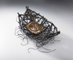 """SOS"" woven and stitched, found objects and kelp Shannon Weber, Oregon"