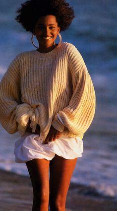 Neil Kirk for American Vogue, January 1988. Sweater by Gene Pressman.