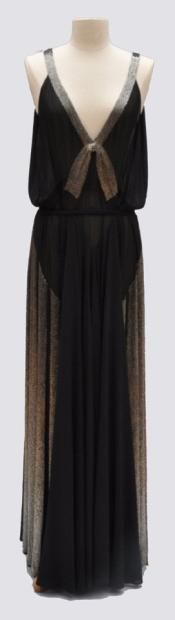 Long dress in black crepe, embroidered with silver tube beads bands, with belt, labelled Jean Patou 1930