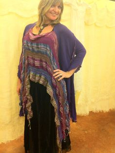 """""""Peruvian Gypsy"""" Artisan Sweater Knit Shawl OOAK Asymmetrical by GigisVintagemoon Knitted Scarves, Knitted Shawls, Vintage Moon, Shawls And Wraps, Diy Clothes, Needlework, Gypsy, Knit Crochet, Vintage Outfits"""