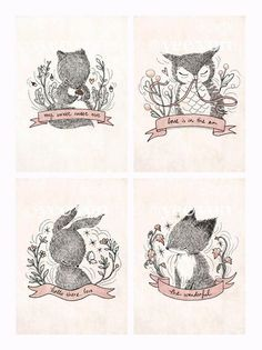 Four Little Whimsies  Print Set by whimsywhimsical on Etsy