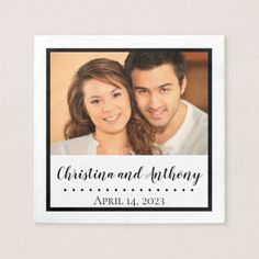 Custom Photo with Monogram Wedding Paper Napkin - wedding shower gifts party ideas diy cyo personalize