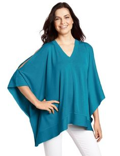 Anne Klein Women's Poncho Top Sweater, Blue,small