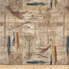 Tim Holtz Eclectic Elements Wallflower Aviary Multi from @fabricdotcom  Designed by Tim Holtz, this cotton print is perfect for quilting, apparel and home decor accents. Colors include shades of brown, cream, blue, red and green.