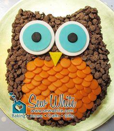 Sew White easy owl cake tutorial 1 (I can totally make this! Owl Cakes, Cupcake Cakes, Smash Cakes, Easy Owl Cake, Owl Cake Birthday, Chocolate Candy Melts, Chocolate Chips, Chocolate Cereal, Chocolate Sprinkles