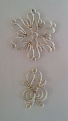Hanging decoration -I love making these! Put glitter on the edges and you have snow flakes.