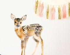Kinderzimmer Dekor Nursery Baby Deer, Woodland Reh Decor, Kinderzimmer, Kinderzimmer Deer Decor, Kunst Baby Deer Kinderzimmer - PVC-frei, Fabric Wall Decal