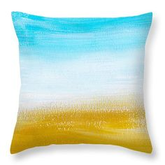 "Aqua Gold Abstract Painting 14"" x 14"" Throw Pillow by Christina Rollo.  Our throw pillows are made from 100% cotton fabric and add a stylish statement to any room.  Pillows are available in sizes from 14"" x 14"" up to 26"" x 26"".  Each pillow is printed on both sides (same image) and includes a concealed zipper and removable insert (if selected) for easy cleaning."