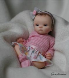 """OOAK Handsculpted Baby Girl Doll 5"""" By Gina Holland Polymer Clay Dolls, Polymer Clay Miniatures, Clay Baby, Miniature Dolls, Dollhouse Dolls, Fairy Dolls, Real Life Baby Dolls, Baby Girl Dolls, Reborn Baby Dolls"""