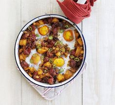 Sweet potato, chick pea and chorizo hash #drool #bbcgoodfood #delicious #recipe
