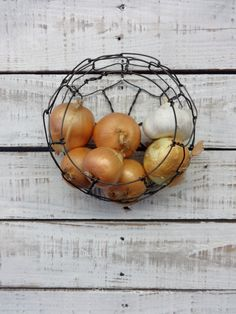 Small Handmade Wire Wall Hanging Sphere Basket by CharestStudios