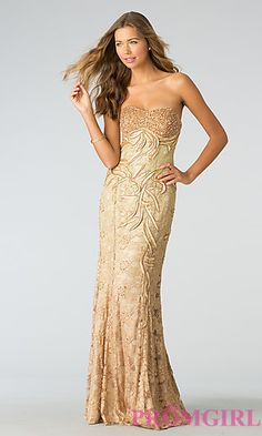Prom dress for girls going to Prom. Strapless Formal Gown for Prom at PromGirl.com