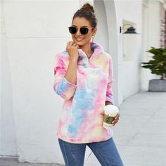 Teddy Bear Sherpa Galaxy Tie Dye Sweatshirt 39.99 CAD Maternity Swimsuit, Maternity Tops, Maxi Shirt Dress, Hoodie Dress, Tie Dye Sweatshirt, Women Ties, Tie Dyed, Tank Top Shirt, Hoodies