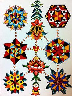 North American Gnostic Book of The Living — Mandala Sheet Robert Ryan Electric Tattoo. Flower Tattoo Designs, Flower Tattoos, Flower Designs, Flower Ideas, Trendy Tattoos, New Tattoos, Cool Tattoos, Tattoos Skull, Mehndi