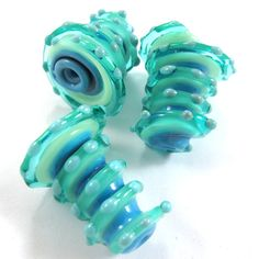 Lampwork beads Lampwork beads set Sea Wind Bells 3 SRA by gaialai, $18.00