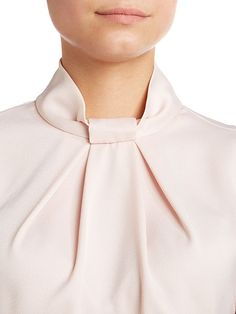 Pleat neck collar blouse