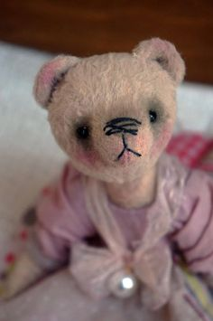 Teddy bear with sawdust OOAK art teddy bear Teddy bear Bear