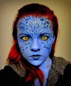 Galaxy Fantasy: Maquillaje de Mistica de Xmen, Cosplay                                                                                                                                                                                 Más Cosplay Hair, Cosplay Makeup, Costume Makeup, Best Cosplay, Xmen, Alien Makeup, Sfx Makeup, Face Makeup, Mystique Costume