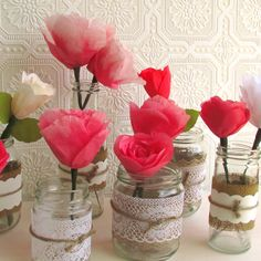 Coral Wedding Centerpieces   Coral pink table decor - wedding, paper   Paper Flowers from Happ