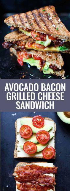 Recette de sandwich au fromage grillé au bacon et à l& - Carrousel de cuisine - La publicité. Sandwich au fromage grillé au bacon et à l& OMG, comme c& simpl - Grill Cheese Sandwich Recipes, Grilled Sandwich, Grilled Avocado, Bacon Avocado, Toast Sandwich, Cheese Recipes, Bacon Recipes, Bacon Sandwiches, Bacon Food
