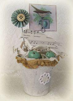 Handmade Bird Flower Pot Vintage Peat Pot Handmade by QueenBe