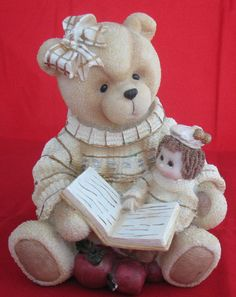 Vintage Teddy Bear Coin Piggy Bank Resin Figurine Doll Book Story Apples Gold  http://stores.ebay.com/The-Spicy-Senior?_rdc=1
